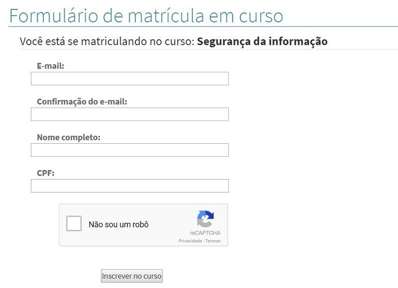 Preencha o formulário de matrícula com os dados exigidos